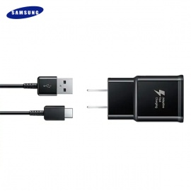 CARGADOR SAMSUNG USB A TIPO C FAST CHARGER NEGRO