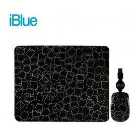 KIT PAD + MOUSE IBLUE RETRACTIL FUNKY SQUARES